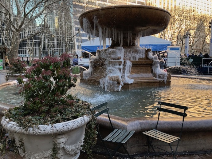 Frozen fountain at Bryant Park, NYC