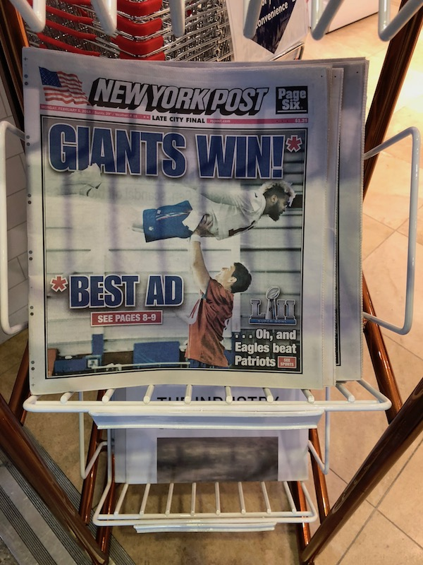 New York Post - joke about Giants winning best ad during the Super Bowl