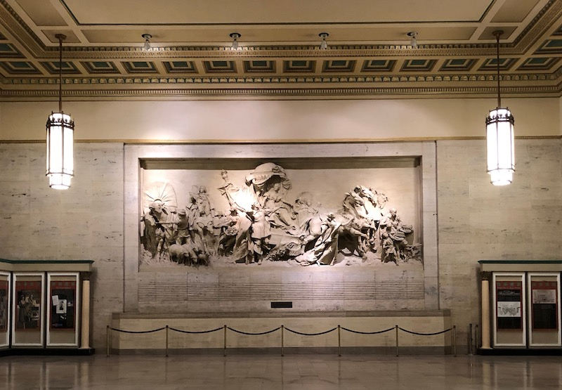 Spirit of transportation mural at 30th Street station in Philadelphia