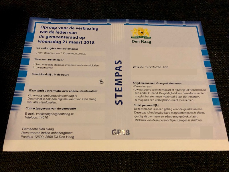 Stempas or voting pass for The Hague, 2018