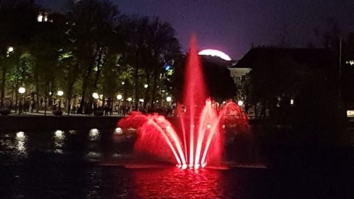 Buitenhof fountain during King's Night in The Hague