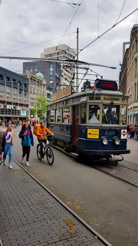 Tram on King's Day, The Hague