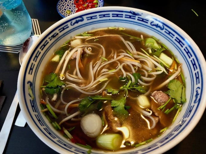 Homemade beef noodle pho soup