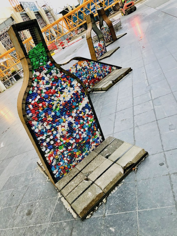 Bottle cap recycling art before The Hague, city hall, Oct 2018